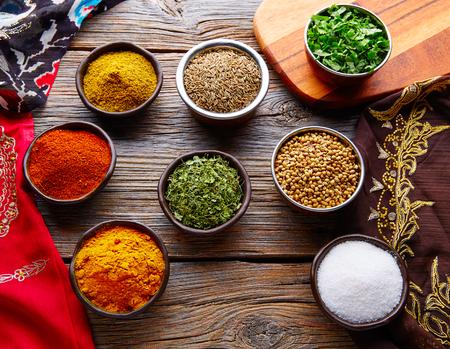 Indian cuisine spices mix as coriander curry  cardamom cumin 版權商用圖片