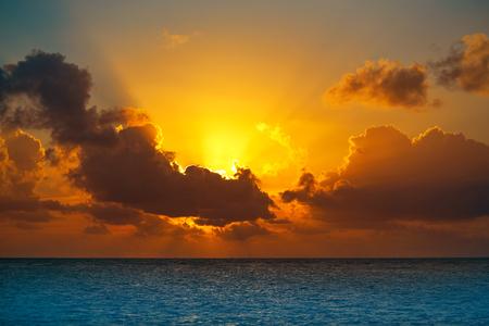 yucatan: Riviera Maya sunrise beach at Mayan Mexico Stock Photo