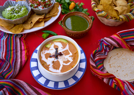 Aztec soup from Mexico recipe with mexican sauces