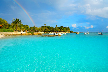 Akumal beach rainbow in Riviera Maya of mayan Mexico Stock Photo