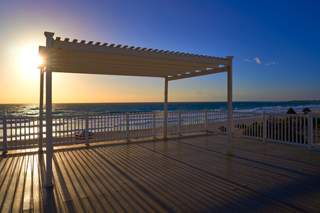 Cancun sunrise at Delfines Beach gazebo at Hotel Zone of Mexico