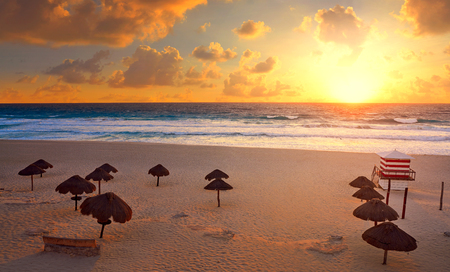 Cancun sunrise at Delfines Beach at Hotel Zone of Mexico
