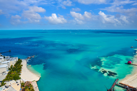 Cancun aerial view of Hotel Zone in Playa Linda at Mexico Stock Photo