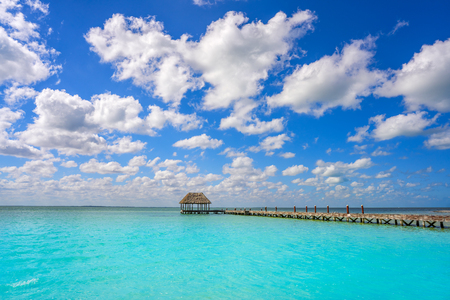 Holbox Island beach wooden pier hut in Quintana Roo of Mexico