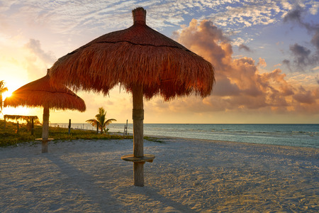 yucatan: Holbox Island beach sunroof palapa in Quintana Roo of Mexico