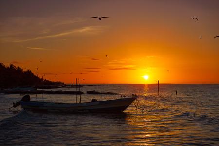 yucatan: Holbox Island pier palapa sunset beach in Mexico Quintana roo Stock Photo