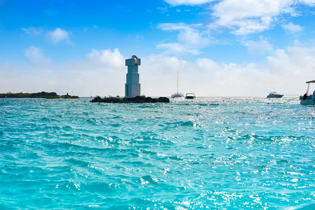 Isla Mujeres lighthouse El Farito a snorkel point in Riviera Maya of Mexico