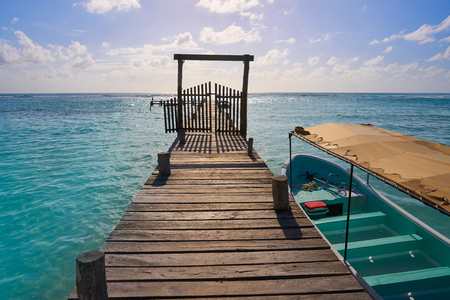 Mahahual Caribbean beach pier in Costa Maya of Mayan Mexico