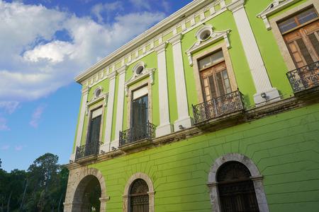 Merida Yucatan facades colonial green house in Mexico