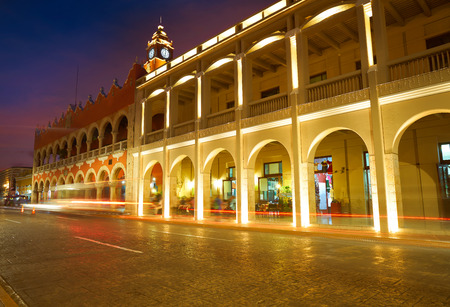 Merida city arcade arcs of Yucatan in Mexico
