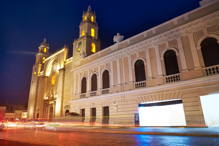 Merida San Idefonso cathedral of Yucatan in Mexico 스톡 콘텐츠