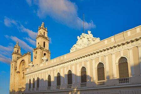 colonial church: Merida San Idefonso cathedral of Yucatan in Mexico Stock Photo