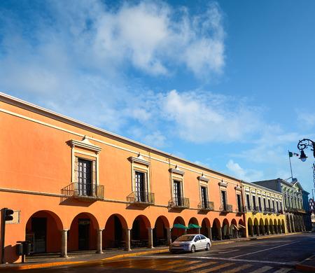 Merida city colorful facades of Yucatan in Mexico Stock Photo