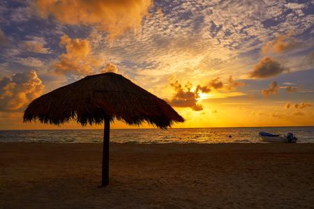 yucatan: Riviera Maya sunrise in Caribbean Mayan Mexico