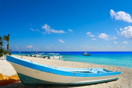 playa: Puerto Morelos beach boats in Mayan Riviera Maya of Mexico Stock Photo