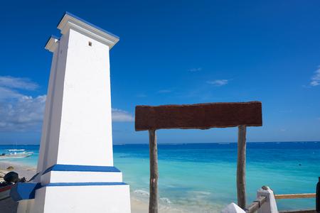 Puerto Morelos bent lighthouse in Riviera Maya Caribbean of Mayan Mexico Stock Photo