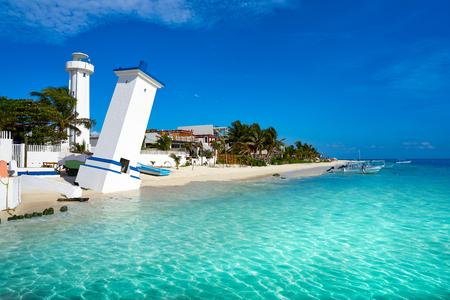 Puerto Morelos beach lighthouse in Riviera Maya at Mayan Mexico