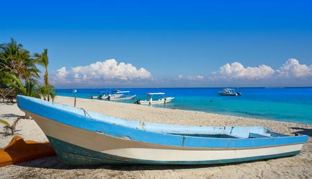 yucatan: Puerto Morelos beach boat in Mayan Riviera Maya of Mexico Stock Photo