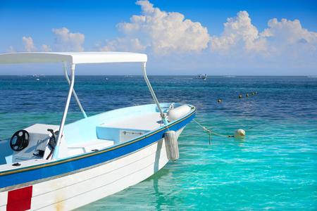 Puerto Morelos beach boat in Mayan Riviera Maya of Mexico Stock Photo