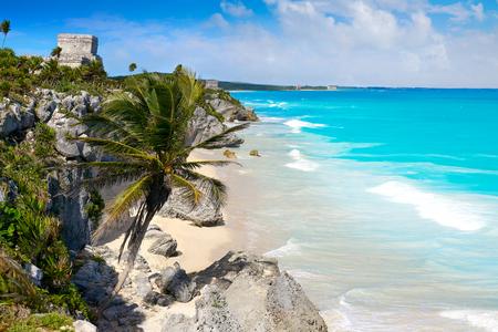 Tulum Mayan city ruins in Riviera Maya at the Caribbean of Mayan Mexico