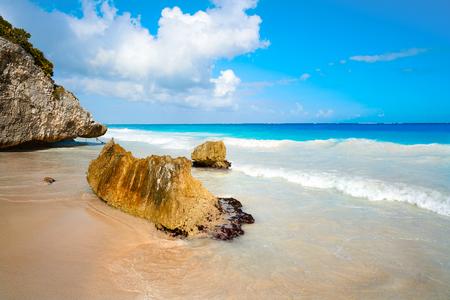 Tulum turquoise beach  in Riviera Maya at Mayan Stock Photo