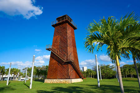 Cancun old airport control tower in wood at Mexico