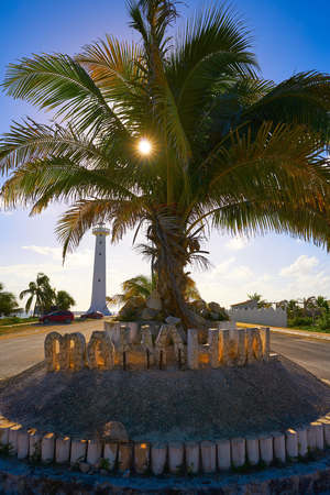 Mahahual word sign and lighthouse in Costa Maya of Mexico Stock Photo