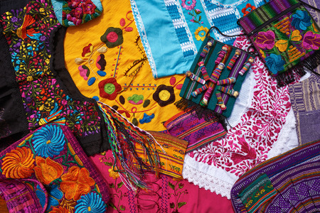 Mayan mexican handcrafts embroidery souvenirs mix Stock Photo