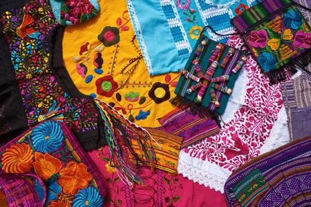 Mayan mexican handcrafts embroidery souvenirs mix Standard-Bild