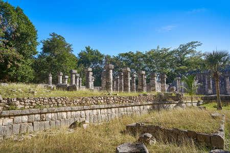 Chichen Itza one thousand columns temple at Yucatan Mexico Stock Photo