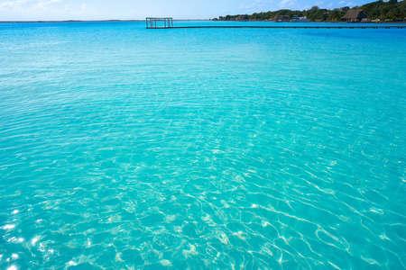 Laguna de Bacalar Lagoon in Mayan Mexico at Quintana roo Stock Photo