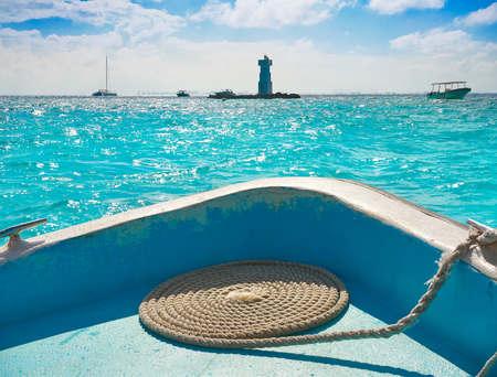 Isla Mujeres lighthouse El Farito a snorkel point in Riviera Maya of Mexico