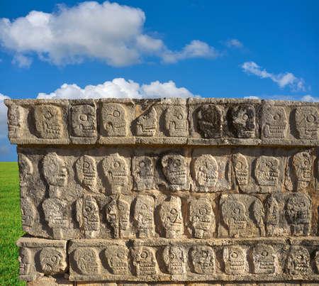 Chichen Itza Tzompantli the Wall of Skulls in Mexico Yucatan