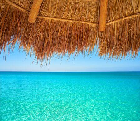 Caribbean beach sunroof in riviera Maya of Mayan Mexico Stock Photo