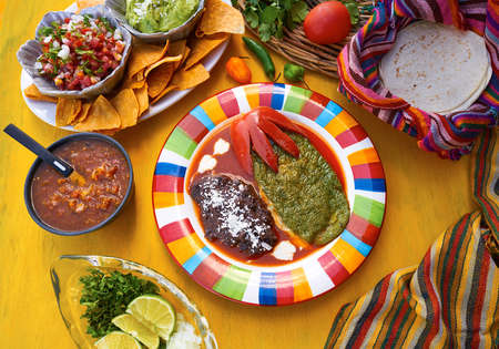 Mexican Nopal filled recipe with sauces from Mexico