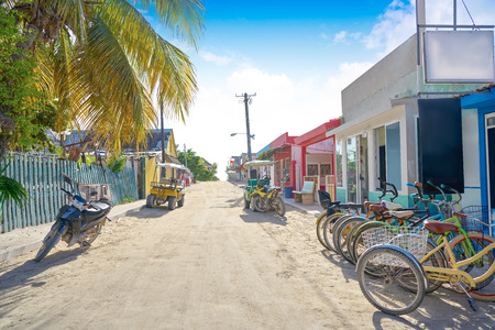 Holbox tropical Island street in Quintana Roo of Mexico