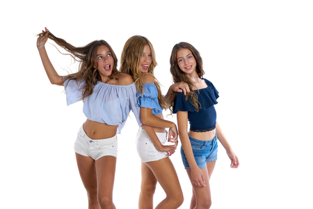Thee teen best friends girls happy together on white background