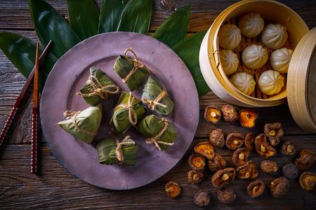 Zongzi Rice Dumplings pork buns shiitake asian food