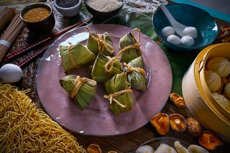 Zongzi Rice Dumplings pork buns shiitake noodles sesame asian food mix