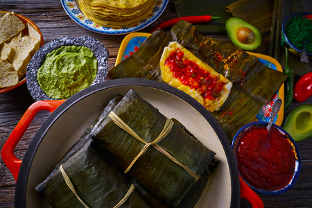 Tamale Mexican food recipe with banana leaves steamed