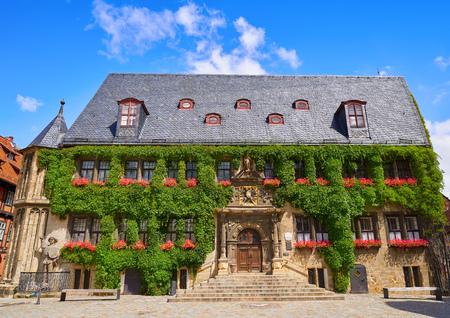 Rathaus Quedlinburg Fassade im Harz Sachsen Anhalt Deutschland