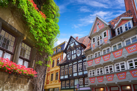 Quedlinburg city facades in Harz of Saxony Anhalt Germany Banque d'images