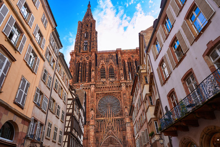 Notre Dame Cathedral in Strasbourg Alsace France Stock Photo
