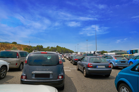 Traffic jam with stopped cars in Spain