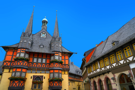 Wernigerode Rathaus Stadt city hall in Harz Germany Imagens
