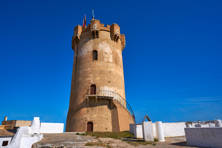 Paterna tower in Valencia and chimneys of underground cave houses 版權商用圖片