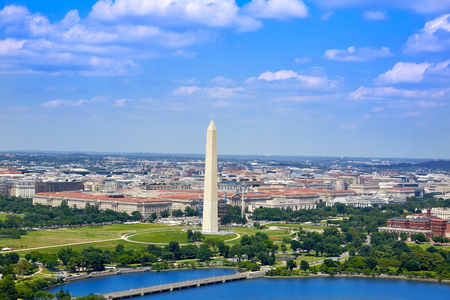 Washington DC aerial view with National Mall and Monument
