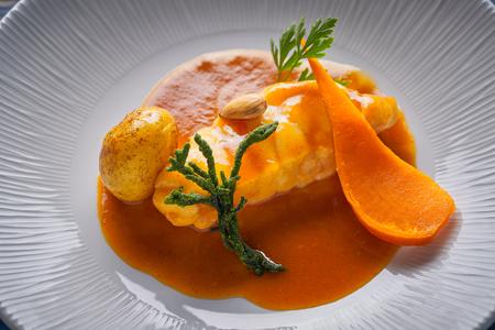 monkfish rape recipe with codium seaweed potato and turnip from Mediterranean Stok Fotoğraf