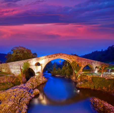 Cangas de Onis roman bridge on Sella river in Asturias of Spain