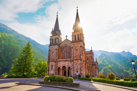 Covadonga Catholic sanctuary Basilica church in Asturias at Cangas de Onis Stock Photo